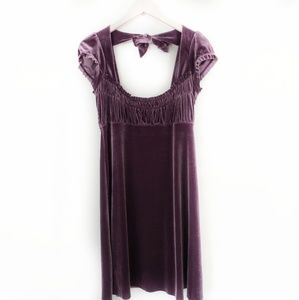 Free People Velvet Smocked Purple Babydoll Dress